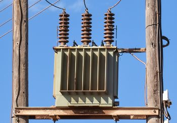 high voltage power transformer on post