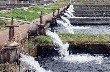 water flowing at treatment plant